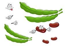 Caratteri della verdura dei fagioli freschi del fumetto Fotografie Stock Libere da Diritti