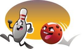 Caratteri di bowling del fumetto fatti funzionare con il fondo di colore Immagini Stock