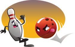 Caratteri di bowling del fumetto fatti funzionare con il fondo di colore. Immagine Stock Libera da Diritti