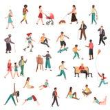 Caratteri di camminata della gente Uomo moderno della donna della folla delle coppie della ragazza della città della persona che  illustrazione di stock