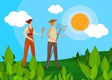 Caratteri di donne agricoltori con gli strumenti agricoli illustrazione vettoriale