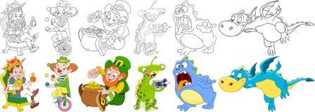 Caratteri di fantasia del fumetto impostati royalty illustrazione gratis