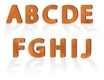Caratteri di legno di struttura del granulo da A a J Immagini Stock Libere da Diritti