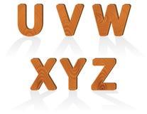 Caratteri di legno di struttura del granulo da U alla Z Immagini Stock