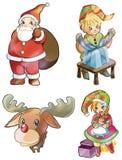 Caratteri di natale: Il Babbo Natale, Rudolph, elfi Royalty Illustrazione gratis