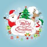 Caratteri di Santa Claus, del pupazzo di neve, della renna e dell'albero, etichetta Immagini Stock