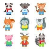 Caratteri di Toy Animals Dressed Like Kids messi Immagini Stock Libere da Diritti