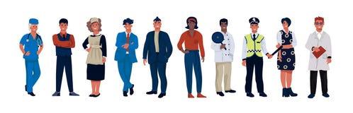 Caratteri di varie occupazioni Persone del fumetto delle professioni differenti che portano uniforme professionale Lavoratori di  illustrazione vettoriale
