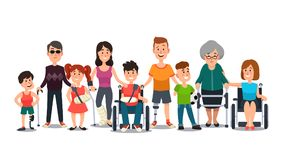 Caratteri disabili Persone con esigenze particolari Studente in sedia a rotelle, in uomo con l'inabilità ed in anziani sulle gruc royalty illustrazione gratis