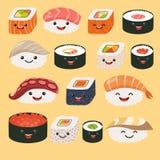 Caratteri divertenti dei sushi Sushi divertenti con i fronti svegli Insieme del rotolo e del sashimi di sushi Fotografia Stock