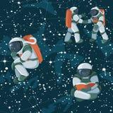 Caratteri divertenti svegli dell'astronauta dell'astronauta del cosmonauta che esplorano il modello dello spazio cosmico illustrazione di stock