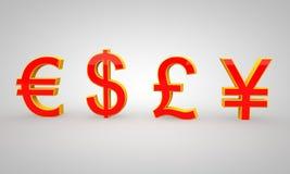Caratteri dollaro, euro, Yen di concetto Fotografie Stock Libere da Diritti