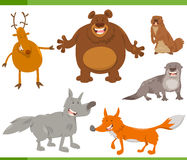 Caratteri felici dell'animale selvatico messi Immagine Stock