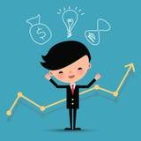 Caratteri felici dell'uomo di affari con la linea del grafico Illustrazione Vettoriale