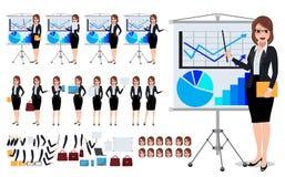 Caratteri femminili di affari messi con la giovane donna che parla e presentazione di affari di mostra royalty illustrazione gratis