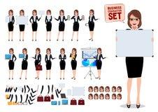 Caratteri femminili di affari messi con la giovane donna dell'ufficio che tiene bordo bianco in bianco illustrazione di stock