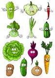 Caratteri freschi felici delle verdure del fumetto Fotografie Stock Libere da Diritti