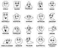 Caratteri geometrici di base di forme del fumetto Immagini Stock Libere da Diritti