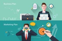 Caratteri piani delle illustrazioni di concetto del business plan Fotografia Stock Libera da Diritti