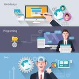 Caratteri piani delle illustrazioni di concetto di sviluppo di web Fotografia Stock Libera da Diritti