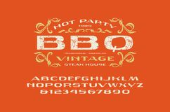 Caratteri sans serif hanno esteso l'etichetta del barbecue e della fonte illustrazione vettoriale