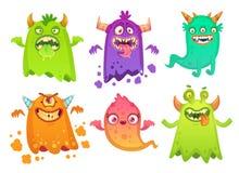 Caratteri spaventosi arrabbiati della mascotte dei mostri del fantasma del mostro del fumetto, creatura straniera sciocca e vetto illustrazione vettoriale