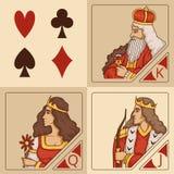 Caratteri stilizzati dei giochi con le carte Fotografia Stock