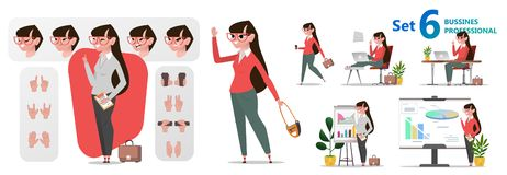 Caratteri stilizzati messi per l'animazione Professioni dell'ufficio della donna illustrazione vettoriale