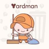 Caratteri svegli di kawaii di chibi Professioni di alfabeto La lettera Y - Yardman royalty illustrazione gratis