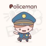 Caratteri svegli di kawaii di chibi Professioni di alfabeto Lettera P - poliziotto Immagine Stock Libera da Diritti