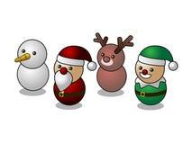 Caratteri svegli di Natale isometrico, pupazzo di neve, Santa, renna, elfo, isolato su fondo bianco Fotografia Stock