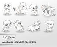 8 caratteri svegli differenti della bambola royalty illustrazione gratis