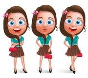 Caratteri teenager adorabili di vettore della ragazza per la borsa della tenuta di modo Immagine Stock Libera da Diritti