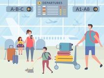 Caratteri in terminale di aeroporto Illustrazioni di vettore dei viaggiatori felici illustrazione vettoriale