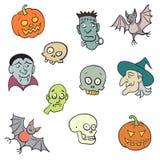Caratteri variopinti di Halloween messi. Immagini Stock