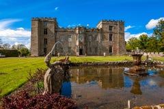 Caratteristica dell'acqua del castello di Chillingham Fotografie Stock Libere da Diritti