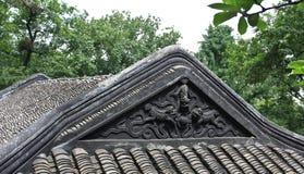 Caratteristica delle mattonelle di Eaves dell'edificio di Huizhou Immagini Stock Libere da Diritti