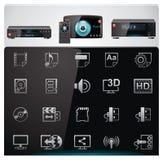 Caratteristiche e specifiche dei riproduttori video di vettore i Fotografie Stock