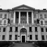 Caratteristiche rigorose di città-Minsk immagine stock