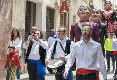 Caravaca de la Cruz, Spain, May 2, 2019: Marching band in the procession at Los Caballos Del Vino or Horses of Wine royalty free stock photography