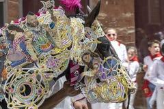 Caravaca de la Cruz, Spanien, am 2. Mai 2019: Pferd, das bei Caballos Del Vino vorgef?hrt wird lizenzfreie stockfotos