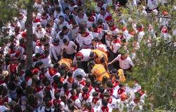 Caravaca De Los angeles Cruz, Hiszpania, Maj 2, 2019: Wypadek przy wy?cigi konny przy Caballos Del Vino, emergencies ewakuuje sam zdjęcia royalty free