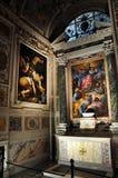 Caravaggio and Carracci paintings in Cerasi Chapel. Basilica of Stock Image