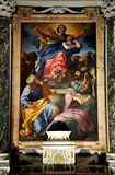 Caravaggio and Carracci paintings in Cerasi Chapel. Basilica of. ROME, ITALY - MARCH 14, 2016: The paintings in the Cerasi Chapel in Basilica of Santa Maria del Royalty Free Stock Photos