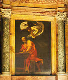 Caravaggio Painting,The Church of St. Louis of the French, Rome, Italy. The Inspiration of St. Matthew, a famous Caravaggio painting, in the Church of St. Louis Stock Photo