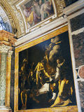 Caravaggio Painting,The Church of St. Louis of the French, Rome, Italy. The Martyrdom of St. Matthew, a famous Caravaggio painting, in the Church of St. Louis of Stock Photos
