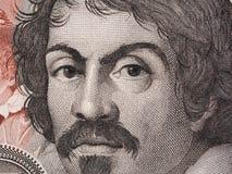Caravaggio-Porträt auf 100000 italienischen Lire Banknotennahaufnahme macr Lizenzfreie Stockfotos