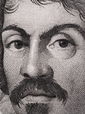 Caravaggio portrait on 100000 italian lire banknote macro. One o. F the greatest and innovative painter of the Italy Renaissance Stock Image