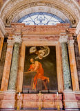 Caravaggio`s painting in Church of San Luigi dei Francesi in Rom. Rome, Italy - October 13, 2016:  Caravaggio`s painting The Inspiration of St. Matthew in the Stock Photo
