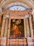 Caravaggio`s painting in Church of San Luigi dei Francesi in Rom Stock Photo